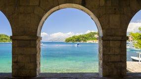 Ansicht über adriatisches Meer in Dalmatien, Kroatien Stockfoto