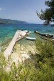 Ansicht über adriatisches Meer und Boot nahe Orebic auf Peljesac-Halbinsel, Dalmatien, Kroatien Stockfotografie