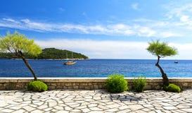 Ansicht über adriatisches Meer von Dubrovnik in Dalmatien, Kroatien Lizenzfreie Stockfotos