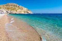 Ansicht über Afandou-Strand auf Rhodos-Insel in Griechenland lizenzfreie stockfotos