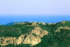 Ansicht über Afionas auf Korfu-Insel Stockfotografie