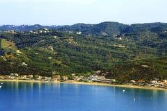 Ansicht über Agios Georgios Pagon auf Korfu-Insel Stockbild