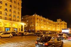 Ansicht über Agmashenebeli-Allee nachts tbilisi georgia Lizenzfreie Stockbilder