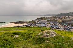 Ansicht über alte Stadt St. Ives, Cornwall, Großbritannien lizenzfreie stockfotografie
