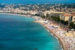 Ansicht über azurblaue Küste in Nizza Stockfotografie