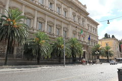 Ansicht über Banca D'Italia (über Nazionale, 91) in Rom Lizenzfreie Stockfotos