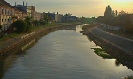 Ansicht über Begej-Fluss in Zrenjanin, Serbien stockfotografie