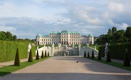 Ansicht über Belvederepalast und seinen Garten Wien, Au Lizenzfreies Stockfoto