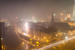 Ansicht über Berlin auf Sylvesterabenden 2013 Stockbild
