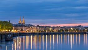 Ansicht über Bordeaux am Abend Lizenzfreies Stockbild