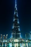 Ansicht über Burj Khalifa, Dubai, UAE, nachts Lizenzfreie Stockbilder