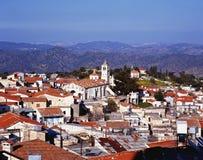 Ansicht über Dachspitzen, Lefkara, Zypern Stockbilder