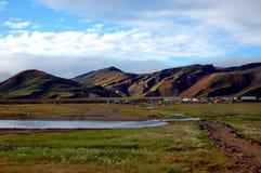 Ansicht über das Kampieren in Landmannalaugar, Island. Lizenzfreies Stockbild