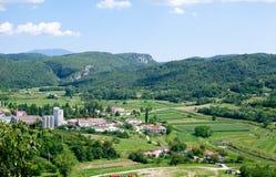 Ansicht über das Mirna-Tal Stockfotografie