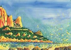 Ansicht über das Seeufer mit Klippen und Felsen vektor abbildung