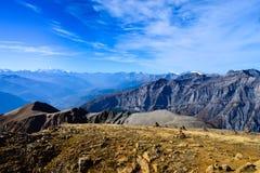 Ansicht über das Torrenthorn an einem sonnigen Herbsttag, die Schweizer Alpen sehend, die Schweiz/Europa stockbild