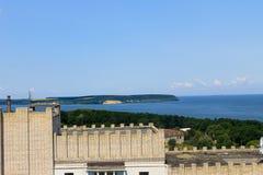Ansicht über den Fluss Dnieper in Svetlovodsk, Ukraine lizenzfreie stockbilder