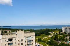 Ansicht über den Fluss Dnieper in Svetlovodsk, Ukraine stockfoto