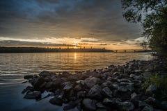 Ansicht über den Fluss und das Stadtbild Drepr Dnieper an Lizenzfreies Stockfoto
