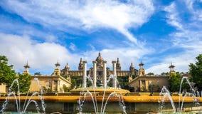 Ansicht über den nationalen Palast in Barcelona Lizenzfreies Stockfoto