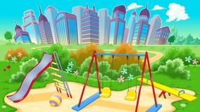 Ansicht über den Spielplatz mit Stadt stock abbildung