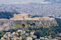 Ansicht über die Akropolis Lizenzfreie Stockfotos