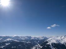 Ansicht über die Alpen in Österreich Stockbild