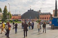 Ansicht über die alte Bahnstation Atocha in Madrid Stockbilder