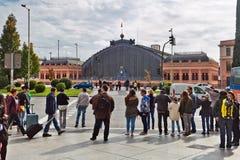 Ansicht über die alte Bahnstation Atocha in Madrid Lizenzfreie Stockfotografie