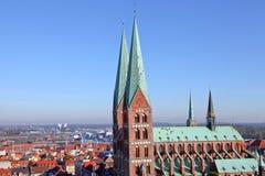 Ansicht über die alte Stadt von Luebeck lizenzfreie stockbilder