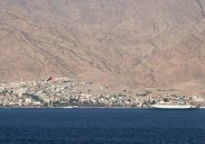 Ansicht über die Aqaba-Stadt und den Marinehafen, Jordanien stockfoto