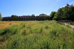 Ansicht über die Außenseite des Schlosses in Trelleborg, Schweden Lizenzfreies Stockfoto