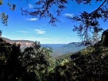 Ansicht über die blauen Berge in Australien stockfotos