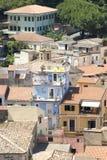Ansicht über die Dachspitzen von Pizzo Calabro, Kalabrien, Italien Stockbild