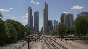 Ansicht über die Eisenbahnlinien in Chicago stock video