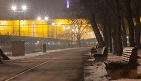 Ansicht über die Promenade entlang dem Fluss Sava Stockfoto