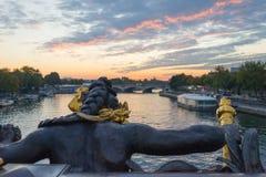 Ansicht über die Seine von Alexander III.-Brücke Lizenzfreie Stockfotos