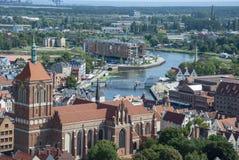 Ansicht über die Stadt von Gdansk, Polen stockbild