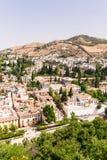 Ansicht über die Stadt von Granada gesehen vom Alhambra, Granada und Lizenzfreie Stockbilder