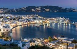 Ansicht über die Stadt von Mykonos-Insel lizenzfreies stockfoto