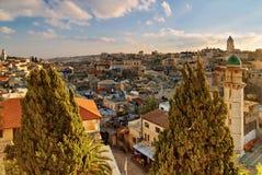 Ansicht an über dolorosa in Jerusalem am Abend Lizenzfreies Stockfoto