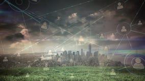 Ansicht über eine Großstadt mit Verbindungen stock abbildung