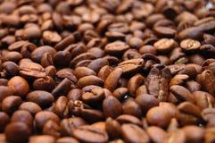 Ansicht über einen Hintergrund von den Kaffeebohnen Lizenzfreies Stockfoto
