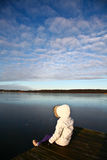 Ansicht über einen schönen See in Skandinavien in Dänemark Stockfotos