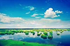 Ansicht über Frühlingsflutfeld und bewölkter Himmel instagram Zauntritt Stockfoto