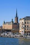 Ansicht über Gamla Stan in Stockholm, Schweden Lizenzfreies Stockbild