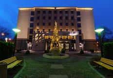 Ansicht über Gliwice-Rathaus herein in der Weihnachtszeit stockfoto