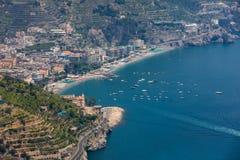 Ansicht über Golf von Salerno von Ravello, Kampanien, Italien Lizenzfreie Stockfotos