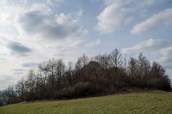 Ansicht über Großer Stein Lausitzer Bergland in oberem Lusatia Lizenzfreies Stockfoto