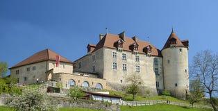 Ansicht über Gruyeres Schloss stockfoto